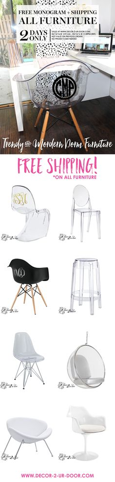 monogrammed dorm room chair acrylic chair for dorm free shipping make your dorm chic trendy dorm room furniture shipped to your dorm room for free