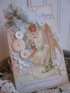 shabby chic WINTER ANGEL card- happy winter card- victorian winter greeting handmade card