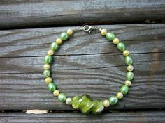 Green and Yellow Twist Anklet by ThreadedChains on Etsy, $9.50