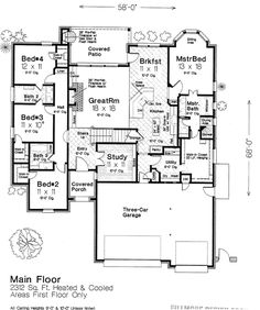 First Floor Plan of Country   European   House Plan 66279