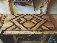 Coffee Table top in progress - Modern rustic reclaimed salvaged wood coffee table, Seattle, WA