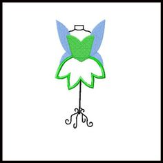 TINKERBELL Dress Form embroidery applique fill by stitchtastical, $3.50