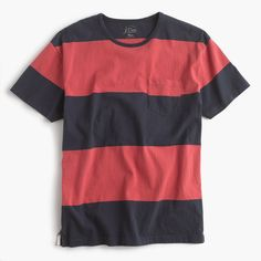 J.Crew Mens Cotton T-Shirt In Broad Stripe (Size