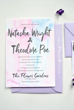 Bright Cheery Pastel Wedding Invitation, Watercolor Invitation, brushstroke font, Pink, Blue & Lilac Wedding Invitation, Pastel Invitation