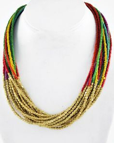 Gold Tone Metal / Multi Color Acrylic Seed Beads / Lead&nickel Compliant / Multi Strand / Necklace