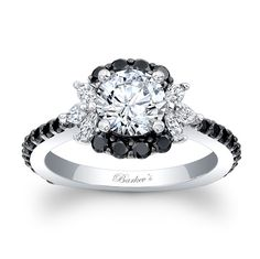 White sapphire black diamond ring