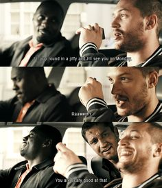 tom as handsome bob (and gerard butler and idris elba) in 'rocknrolla' - I looove this scene!