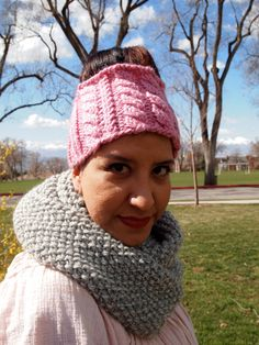 Carnation Pink Knitted Ear Warmer Headband by KnittingWriter, $25.00