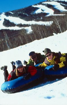 Ready for some winter fun? This family is snow tubing at Sugarloaf in Maine.