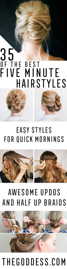 Best 5 Minute Hairstyles - Quick And Easy Hairstyles and Haircuts For Long Hair, That Are Super Simple and Great For Busy Mornings Or For School. Braids, Undo's, Ponytail Looks And Hair Styles For Short Hair, Medium Length Hair, And Long Hair. Step By Step Tutorials, Tips, And Hacks For Teens, For Kids, And For Wet And Dry Hair. Great Looks For Curls, Simple And Cute Braids With Half Up Half Down Hairstyles. Five Minute Looks For Church, For Shoulder Length Hair, For Moms, And Messy Buns For…