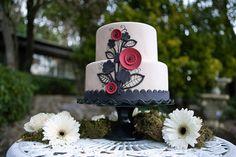 Stylish, modern black, white and red cake | Emma Cakes