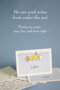A yellow submarine zooms along under the water's surface on this folded note stationery card. Personalize with your own text! Kids Stationery, Personalized Stationery, Thank You Notes, Thank You Cards, How To Fold Notes, Yellow Submarine, Kid Names, Card Sizes, Boy Birthday