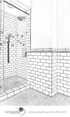 Handmade and Vintage Ceramic Tile Bathroom Gallery Outline Drawings, Scale Drawings, Ceramic Tile Bathrooms, Elevation Drawing, Bathroom Installation, Bathroom Gallery, Interior Design Sketches, Tile Layout, Vintage Ceramic