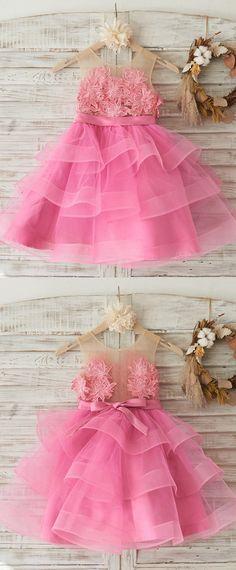 Modest Tulle Jewel Neckline Knee-length Ball Gown Flower Girl Dresses With Flowers