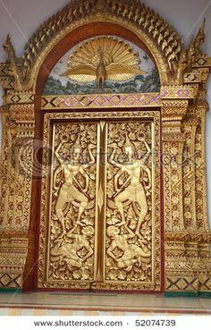 beautiful doors at Wat Phra Thad, Thailand