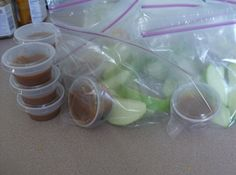 apple dippers - toss apples in pineapple juice to keep from turning brown.  Add condiment cups(Walmart) filled with caramel ice cream topping.