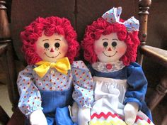 Raggedy Ann and Andy Royal blue by granniesraggedybags on Etsy, $52.00