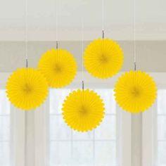 Yellow Mini Fan Decorations | 5pc, 6'