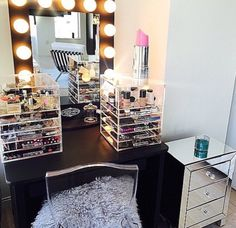 Now that's a vanity! Love the mirrored dresser! This is exactly how I want my dressing room to look!