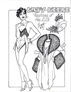 Katy Keene fashions of the 1920's 1983 paper doll sheets by pat frey