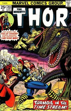 Mighty Thor #243. Thor takes on a Tyrannosaurus. Art by Gil Kane. It's so pretty