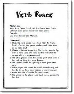 FANTASTIC resources here! Verb Race Game Freebie Lots of free grammar activities. I will definitely use the run-on sentence practice! Grammar Games, Grammar And Punctuation, Grammar Activities, Teaching Grammar, Teaching Language Arts, Teaching Spanish, Teaching Reading, Speech And Language, Teaching English