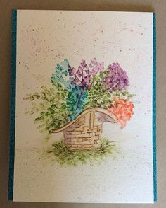 Art Impressions Rubber Stamps: Wonderful Watercolor handmade card. flowers, floral, foliage, basket