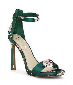 4f2eb89ecd Jessica Simpson Plemy Satin Floral Print Ankle Strap Dress Sandals Flat  Sandles