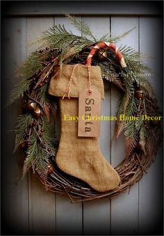 Elegant Rustic Christmas Wreaths Decoration Ideas To Celebrate Your Holiday 01 Homemade Christmas Wreaths, Diy Christmas Decorations For Home, Christmas Wreaths To Make, Burlap Christmas, Christmas Crafts, Homemade Ornaments, Christmas Stuff, Christmas Ideas, Plastic Christmas Tree