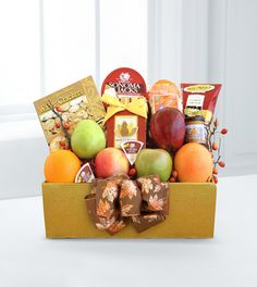 A Healthy Fall Gift Box - WebGift  Price: 39.90    This Healthy Fall Gift Box will show your thanks to family and friends when you can't be there in person. This GOOD gift box includes 6-pieces of fresh seasonal fruit, cheese, water crackers, a mini Napa Valley mustard, California almonds, cashew crunch and turkey-themed shortbread cookies.
