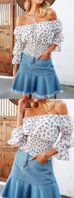 1d1dda5542 Shop Online for MYNYSTYLE White Chiffon Off Shoulder Floral Print Ruffle  Trim Crop Blouse at $18.99