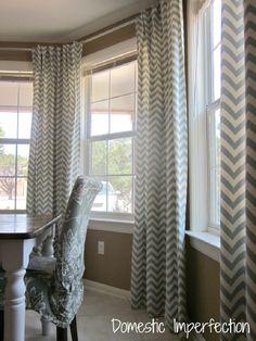 diy bay window curtain rod u0026 back tab curtains