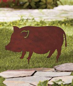 METAL BARN YARD STAKE Garden Farm Animal Lawn Outdoor Country Home Decor 1 Pig