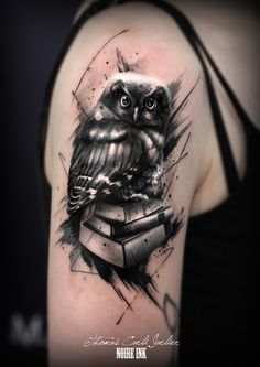 Book owl tattoo by Thomas Carli Jarlier at Noire Ink Tattoo Parlour