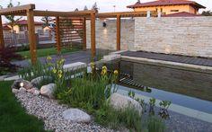 přírodní koupací jezírko s molem / natural swimming pond with pier Natural Swimming Ponds, Garden Architecture, Garden Bridge, Pergola, Outdoor Structures, Patio, Pools, Outdoor Decor, Nature