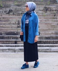 Modesty Fashion, Abaya Fashion, Muslim Fashion, Fashion Pants, Fashion Outfits, Casual Hijab Outfit, Hijab Chic, Casual Outfits, Denim Jacket With Dress