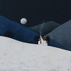 Moon Rise 2 - Original Winter Night Landscape Painting on Canvas - Contemporary Art by Natasha Newton, Winter Night, Winter Art, Pictures To Paint, Cool Pictures, Art Is Dead, Karla Gerard, Winter Illustration, Canvas Painting Landscape, Moon Rise