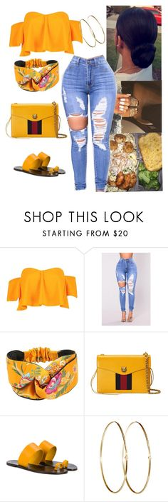 """"""""""" by itskiahm ❤ liked on Polyvore featuring Boohoo, Gucci, All Tomorrow's Parties and Jennifer Meyer Jewelry"""