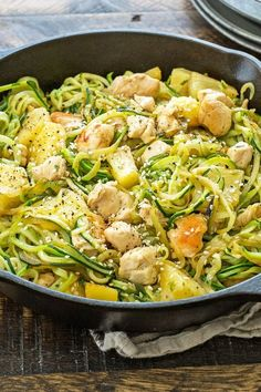 Zoodle Chicken Teriyaki (Weight Watchers) - sub cauliflower rice for zucchini Zoodle Recipes, Spiralizer Recipes, Ww Recipes, Skinny Recipes, Cooking Recipes, Healthy Recipes, Pasta Recipes, Poulet Weight Watchers, Weight Watchers Zucchini