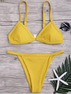 2ce4fab5d5150 AD   Solid Color Spaghetti Straps Low Waisted Bikini Set - YELLOW M Swimwear  Type
