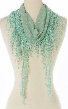 Green Floral Lace-Fringe Linen-Blend Scarf