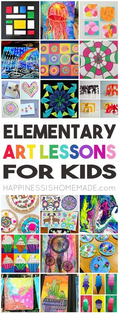 36 Elementary Art Lessons for Kids. Gorgeous art projects for kids. Would be great art docent lessons too!