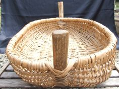 Very large Rattan basket by VintageRetroOddities on Etsy