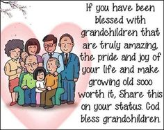 If you have been blessed with grandchildren that are truly amazing, the pride and joy of your life and make growing old sooo worth it, Share this on your status. God bless grandchildren.