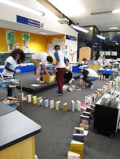 Book Dominoes at New Lynn War Memorial Library #library programs #teens ***********we could use donated books