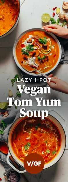 Vegan Tom Yum Soup LAZY Vegan Tom Yum Soup made with ingredients you likely have on hand right now! Plus, BIG flavor!LAZY Vegan Tom Yum Soup made with ingredients you likely have on hand right now! Plus, BIG flavor! Baker Recipes, Soup Recipes, Vegetarian Recipes, Cooking Recipes, Healthy Recipes, Tom Yum Soup Vegetarian, Easy Recipes, Vegetarian Cookbook, Healthy Soup