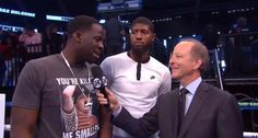Las Vegas, NEVADA - Paul George and #DraymondGreen support Floyd Mayweather at weigh-in in Vegas on Friday, August 25.