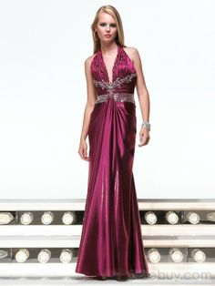 Empire Halter Top Floor Length Satin Prom Dress – Wholesale -- Empire Halter Top Floor Length Satin Prom Dress(PS0002), #Special Occasion Dresses  #Evening Dresses Prom Dresses  #MarketPricde $245.00  But now Only $101.99