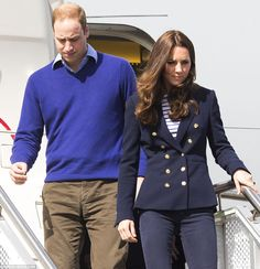 Coordinated couple: Both Kate and William wore blue. The Duchess donned a blazer by Zara and striped top by Me and Em which she paired with ...