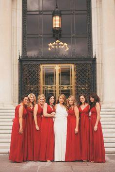 Red Bridesmaids Dresses | photography by http://www.heatherjowett.com